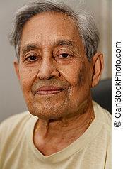indio, hombre, pelo de gris
