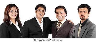indio, joven, equipo negocio