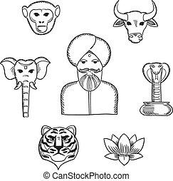 indio, naturaleza, y, símbolos nacionales, iconos