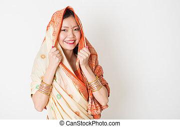 indio, niña, sari, vestido, joven