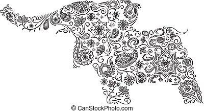 indio, ornamento, elefante