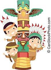 indio, stickman, niños, poste, tótem, ilustración