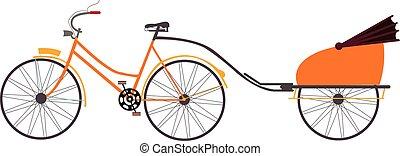 indio, vector, transporte, bicicleta, tirón, viaje, ilustración, rickshaw