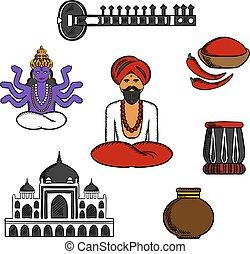 indio, viaje, y, cultura, elementos