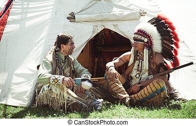 indios americanos, norte, wigwam, sentarse