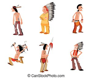 indios, conjunto, seis