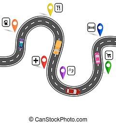 indiqué, illustration, enroulement, signs., sentier, navigator., route