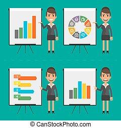 indique, femme affaires, infographics, diagramme,...