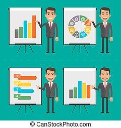 indique, infographics, diagramme, homme affaires,...