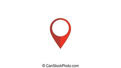indiquer, épingle, projection, parcours, maps., mouvement, gps, emplacement, icon., vidéo, signe, indicateur, apparaître, 4k, map.