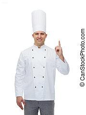 indiquer haut, chef cuistot, doigt, cuisinier, mâle, heureux