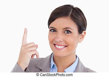 indiquer haut, entrepreneur, femme, fin, sourire