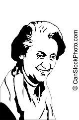 indira, gandhi, 前, 首相, ......的, 獨立, india.
