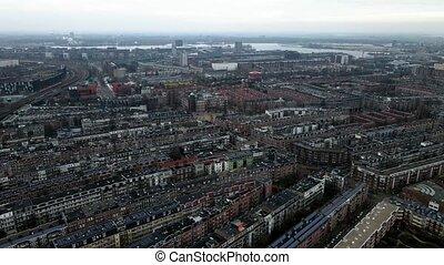 indische, bourdon, secteur, amsterdam, résidentiel, buurt, ville, est, pays-bas, vue