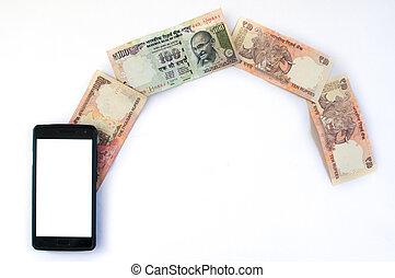 indische , geld, strömend, von, telefon