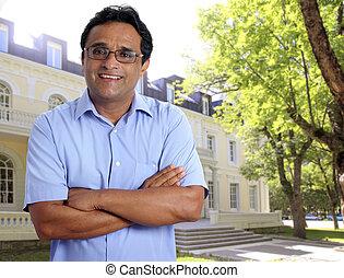 indische , latein, mann, hotel, eigentümer, real estate,...