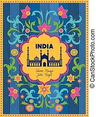 indische , masjid, jama, hintergrund, blumen-, tempel