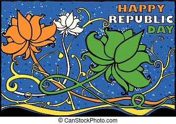 indische , republik, tag, hintergrund, feier