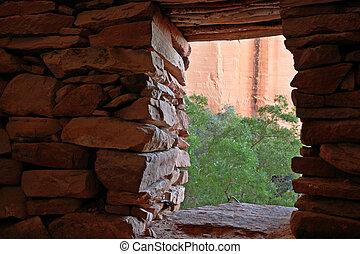 indische , ruine, türöffnung