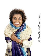 indische , schoenheit, -, lächeln