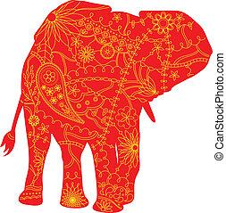 indische , silhouette, elefant
