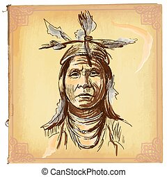 indische , skizze, amerikanische , -, hand, vektor, gezeichnet, freehand, gebürtig