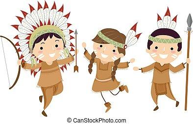indische , stickman, kinder, jagen, abbildung, werkzeuge
