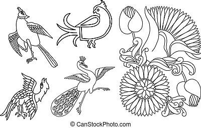 indische , stil, vögel