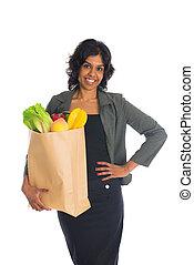 indische , weibliche , shoppen, mit, geschäftskleidung, und, weißer hintergrund