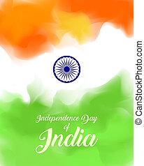 indisk, dag uafhængighed, begreb, baggrund, hos, ashoka, wheel., illustration.