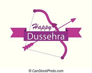 indisk, dussehra., illustration, bøje sig, symboler, arrow...