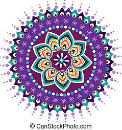 indisk, farverig, mønster