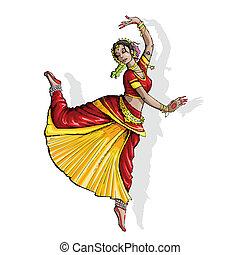indisk, klassisk, baldamen