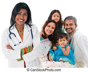 indisk, kvindelig, medicinsk doktor, og, patient, family.