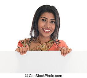 indisk, kvinna räcka, tom, affischtavla