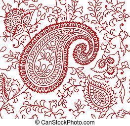indisk, mønster, tekstilet