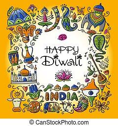 indisk, skitse, festival, konstruktion, din, diwali, holiday.