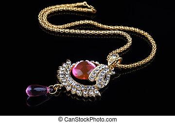 indisk, smycken, halsband, närbild