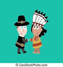 indisk, vallfärda, illustration