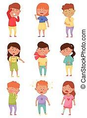 indisposé, sentiment, vecteur, ensemble, enfants, malade, debout, illustrations