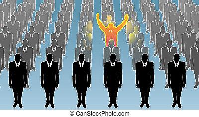 individ, illustration, begrepp, affär
