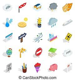 individu, icônes, ensemble, isométrique, style