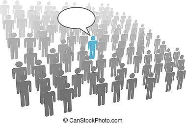 individu, persoon, toespraak, van, menigte, sociaal, groep,...