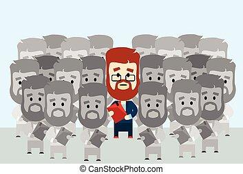 individu, zakenman, menigte, stander, leider, uit