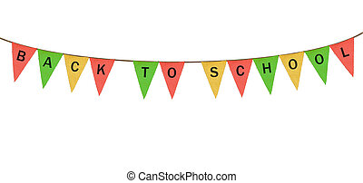 Individual cloth pennants or flags with Back to School