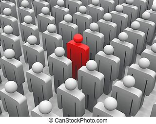 Individual - 3d render of a red figure standing in a crowd