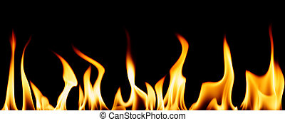Individual flames - Series of individual flames isolated on...