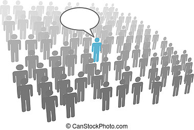 Individual person speech from crowd social group company -...