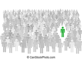 One colorful individual person stands out from large diverse crowd of gray symbol people