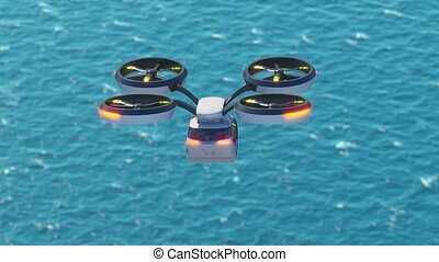 Individual personal air transport, flight over the sea. High quality 4k footage